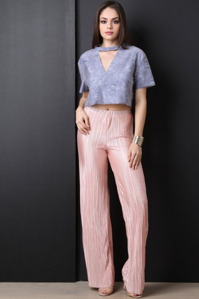 tiffany blue v-neck cropped top pink pleated palazzo pants
