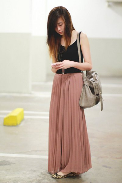 black vest top crepe pleated palazzo pants