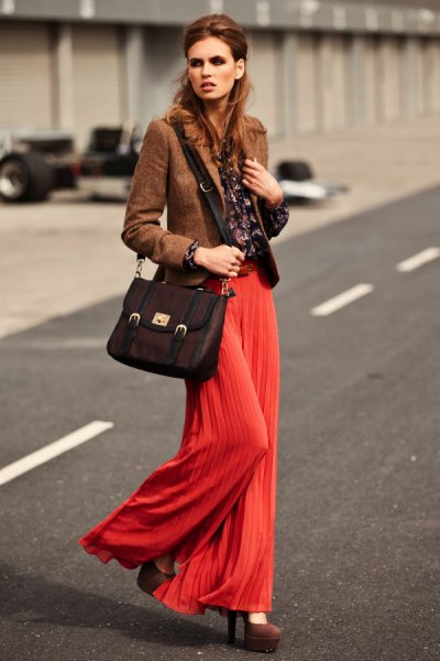 green tweed blazer red pleated palazzo pants