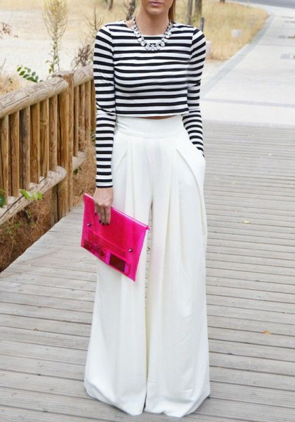 white palazzo pants long sleeve cropped striped t-shirt