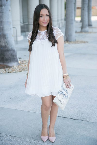 short sleeve white lace baby doll dress