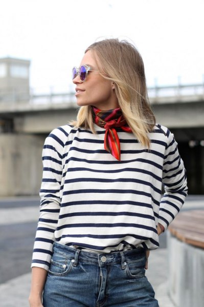 red skinny scarf black and white striped tee