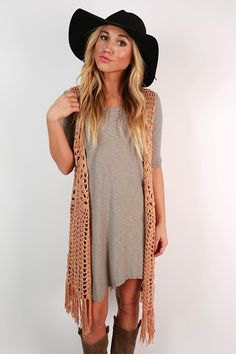 camel fringe vest gray breezy t-shirt dress