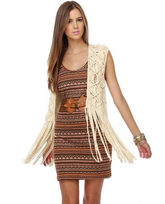 boho mantle dress white vest