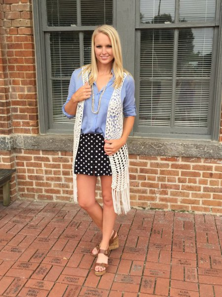 denim shirt black and white polka dot mini skirt