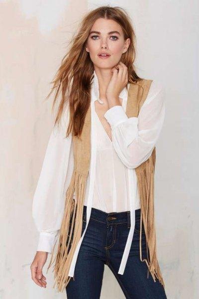crepe fringe vest white chiffon shirt