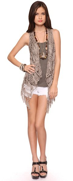 crocheted vest gray tank denim shorts