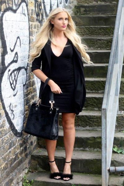 black half-heated shift dress with open toe poles