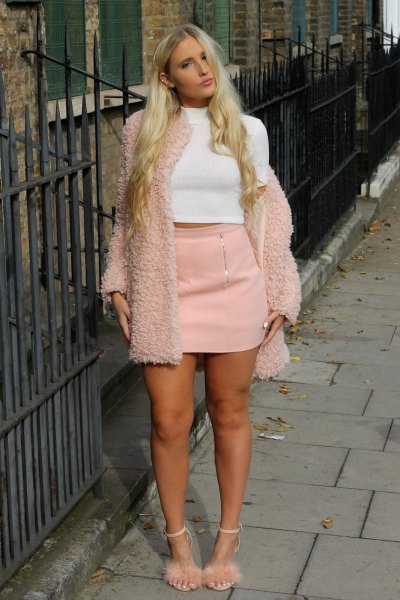 light pink fluffy heels teddy jacket