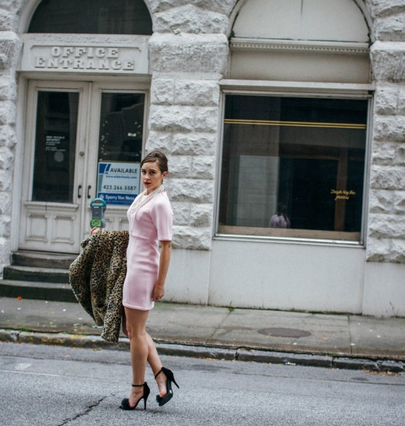 white sheath dress cheetah skirt