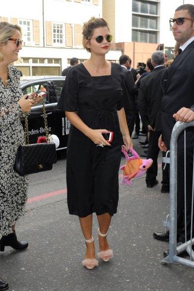 pink flurry heels black midi dress