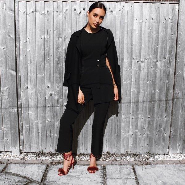 Burgundy fluffy heels all black clothes