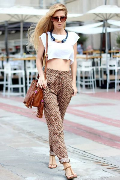 white crop top green printed trousers