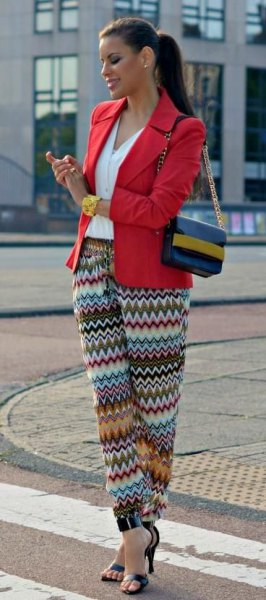 red blazer colorful tights