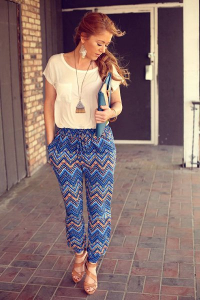 blue printed trousers boho long necklace