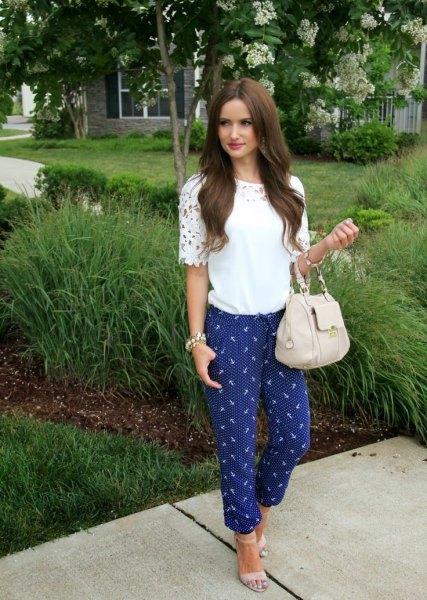 blue printed pants white boho lace top