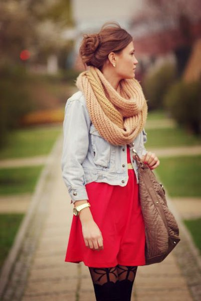 light green crocheted scarf denim jacket red dress