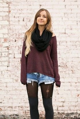 black scarf gray cold shorts in shoulder top