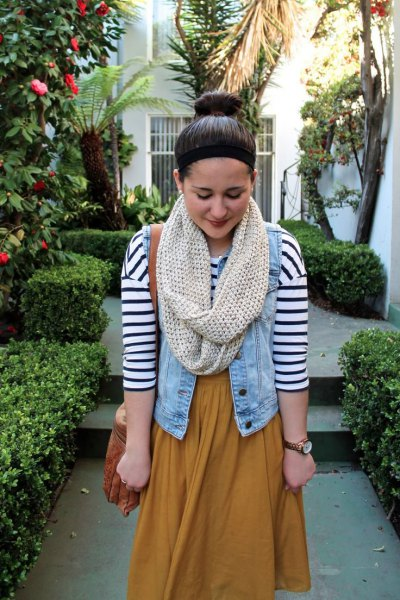 ivory scarf denim vest navy and white striped t-shirt