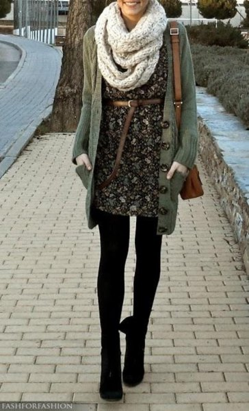 gray scarf black floral belt dress long cardigan