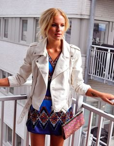 white leather jacket blue and black tribal dress
