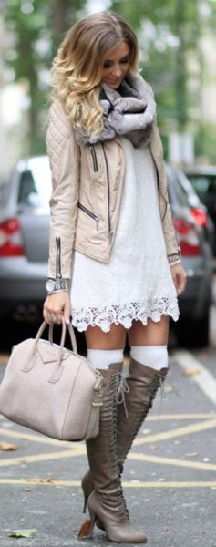 boho style change dress knee high boots