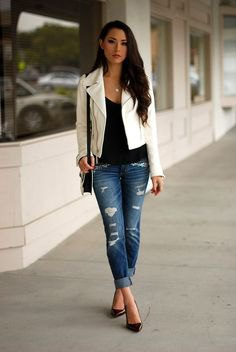 short white jacket black tank ripped boyfriend jeans