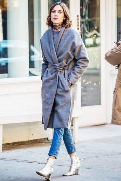 gray belt coat with silver leather ankle boots