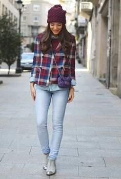 silver boots navy blue and brown plaid boyfriend shirt