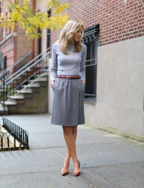 knee length skirt gray form fitting sweater