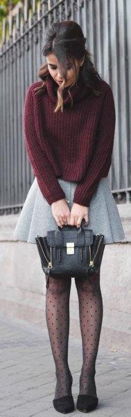 light gray wool plaid mini skirt green knitted sweater