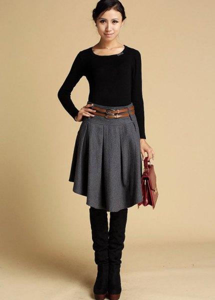 knee length wool skirt black knee high boots