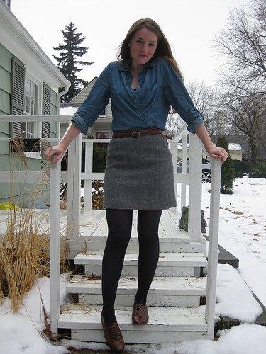 denim shirt gray mini skirt
