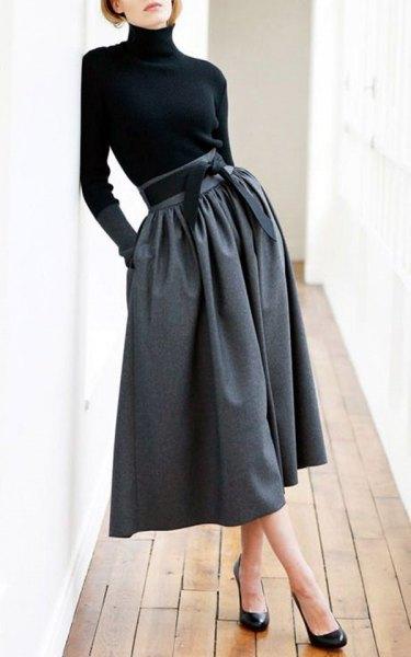 black top gray midi skirt with high neck