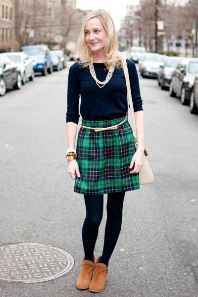 navy blue long sleeve tee gray checkered wool skirt