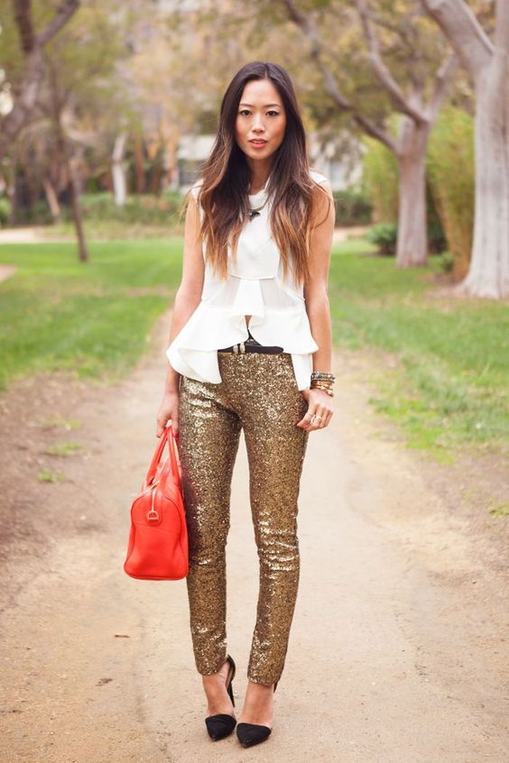 sequin leggings gold