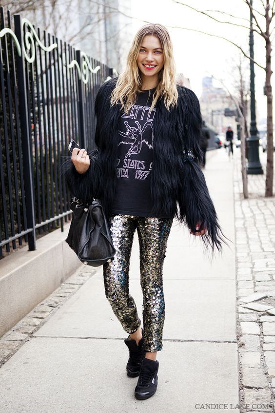 sequin leggings faux fur