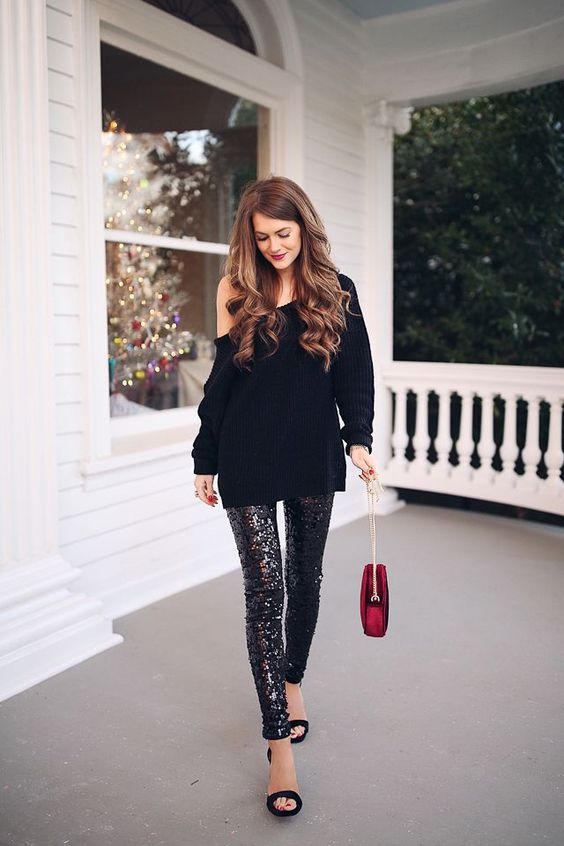 sequins with sequins over one shoulder sweater