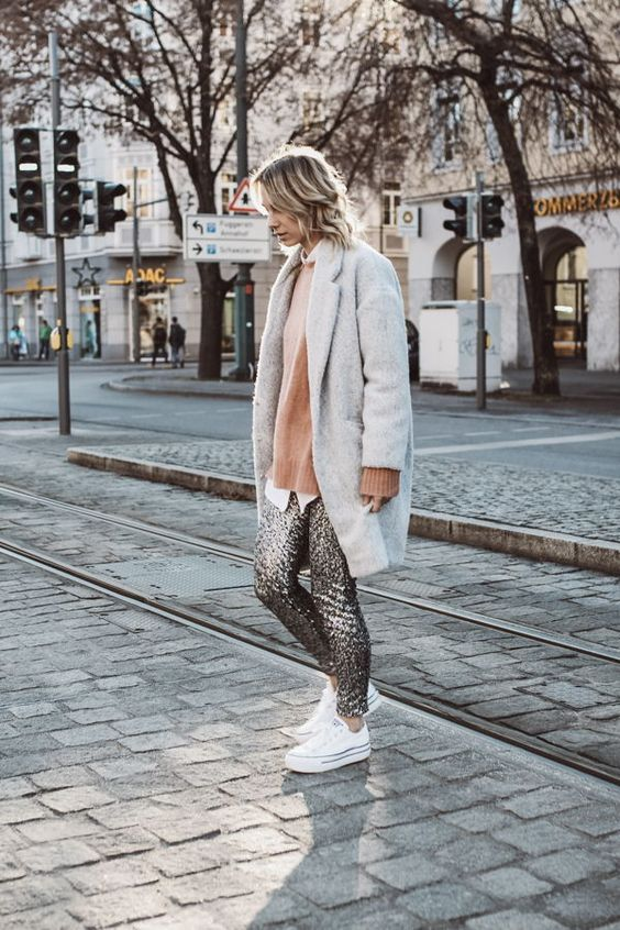 sequin gray gray coat