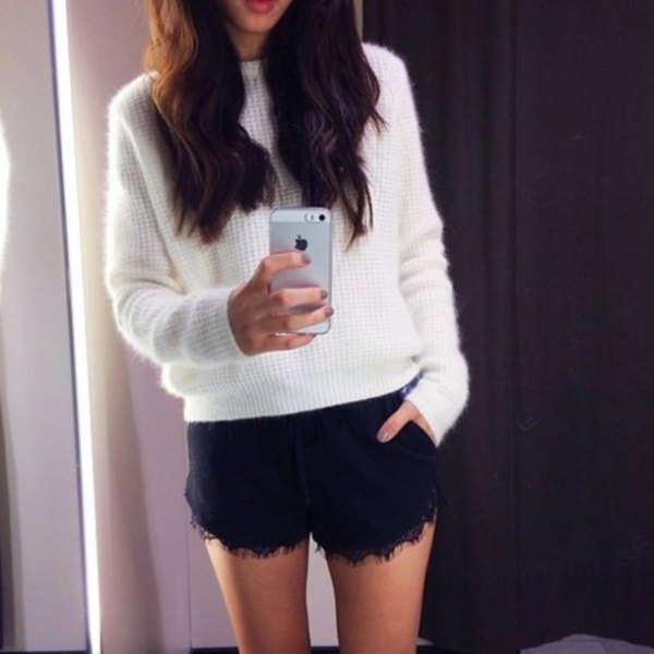 white knitted sweater black lace shorts