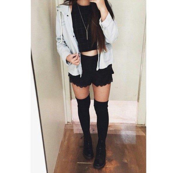 black crop top white denim jacket