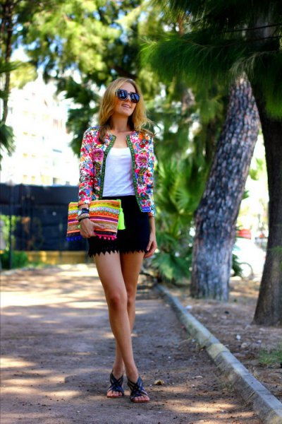 white top floral jacket