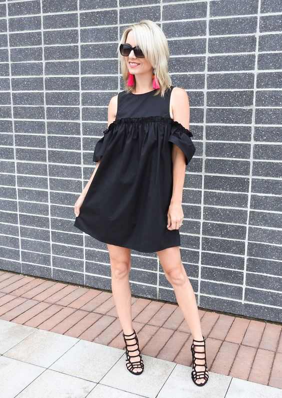 black baby doll dress cold shoulder