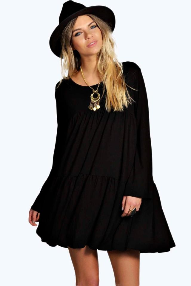 black baby doll dress bohemia