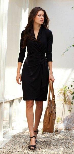 black three quarter sleeve wrap dress open toe heels
