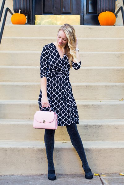 black and white printed knee length dress