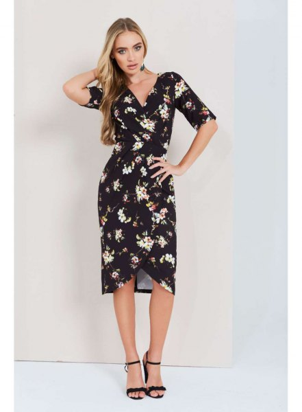 black floral midi wrap dress