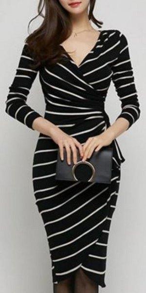 black and white v-neck skinny fit dress
