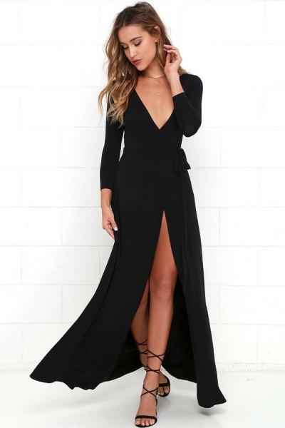 deep v-neck high split maxi wrap dress