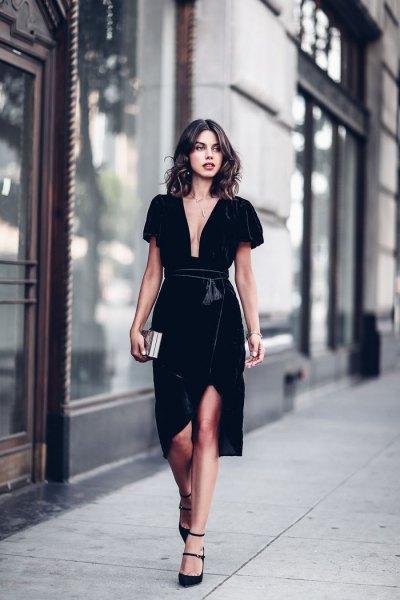 black deep v-neck velvet wrap dress